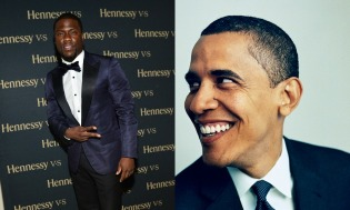 Split Screen of Kevin Hart and Obama