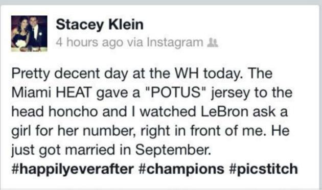 LeBron James Stacey Klein Tweet