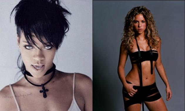 Rihanna and Shakira Split screen