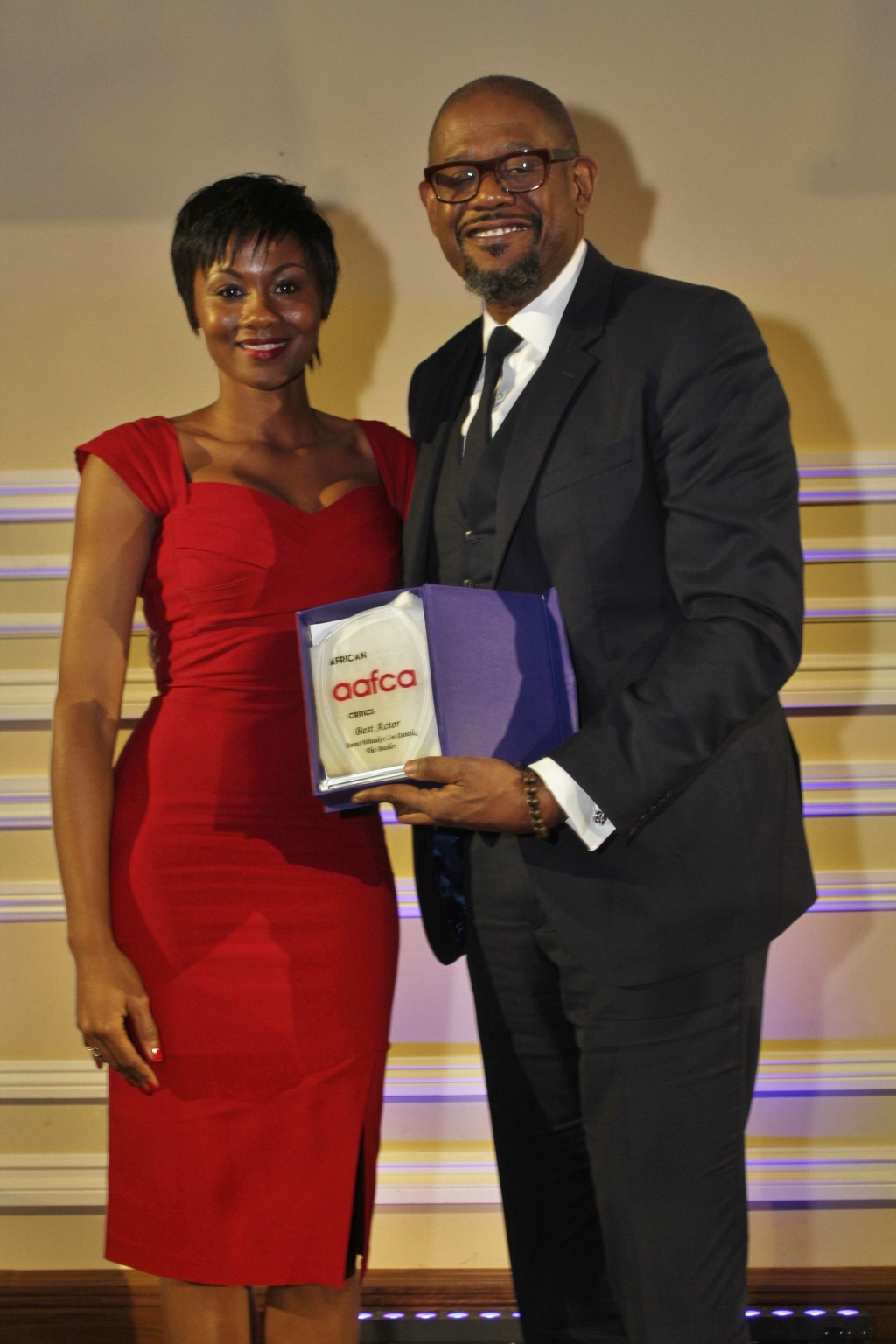 2014 AAFCA AWARDS - Emayatzy Corinealdi  with Forest Whitaker (2)