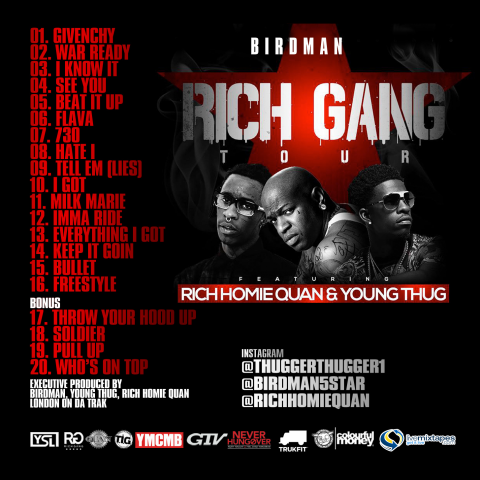 Rich Gang - Tha Tour Pt. 1 Tracklist (Artwork)