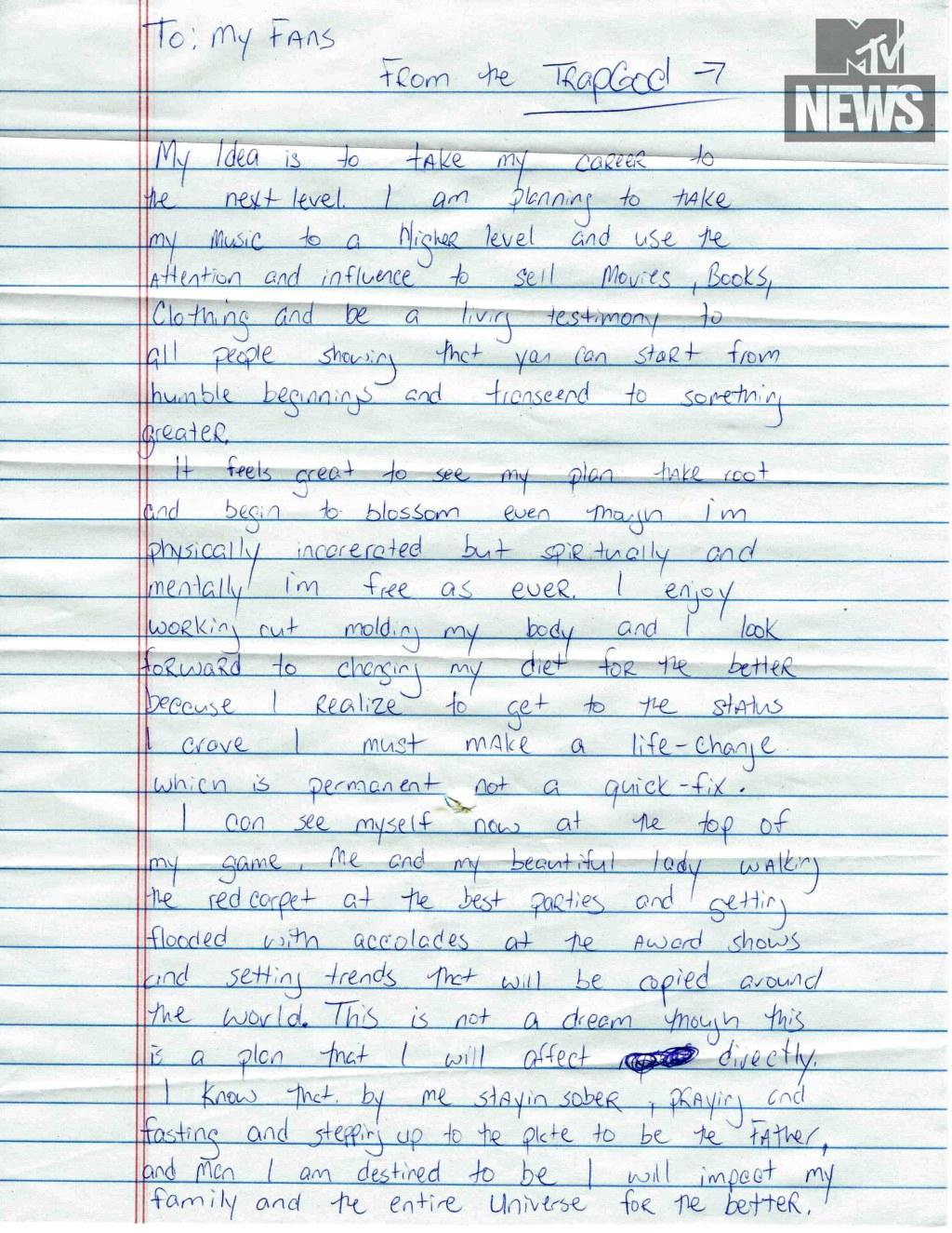 Gucci Mane letter