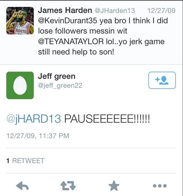 Harden & Jeff Green Tweet
