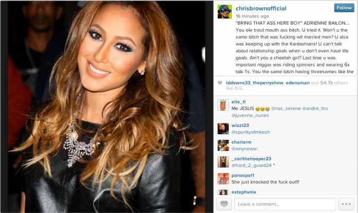chris brown adrienne bailon IG