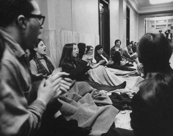 Students staging a sit-in to protest rac