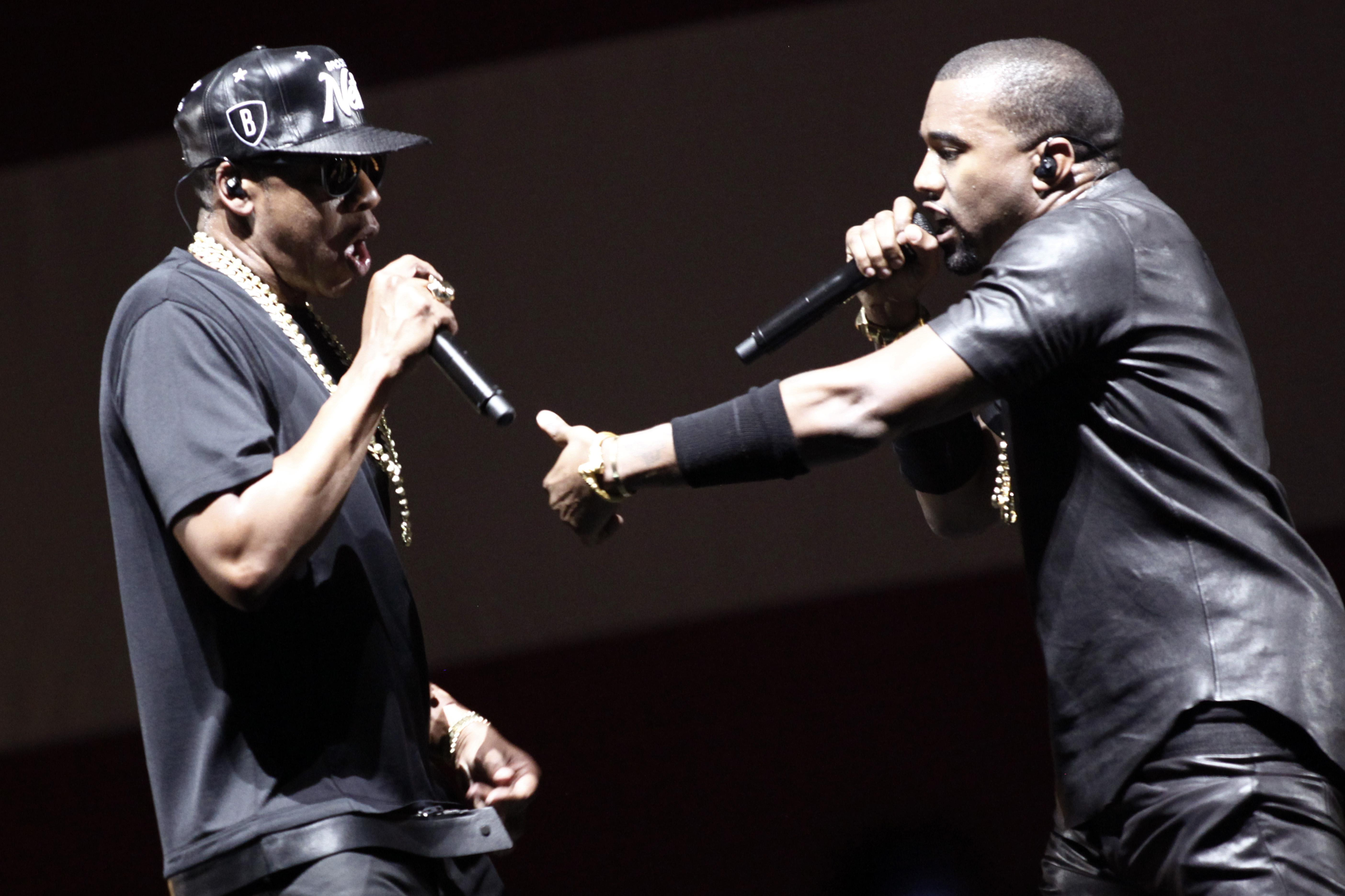 US rappers Kanye West and Jay-Z (L) perf