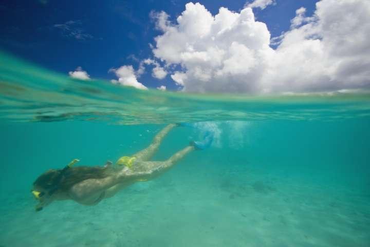 Teenage girl (15-17) snorkeling, surface view