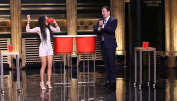 Zoe Kravitz Jimmy Fallon Beer Pong