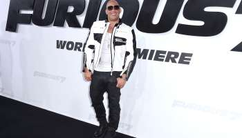 Vin Diesel arrvies at the 'Furious 7' premiere