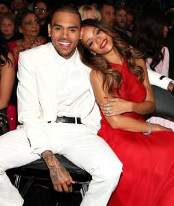 Chris Brown and Rihanna at 2013 Grammy Awards