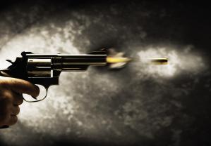 Bullet shooting out from gun