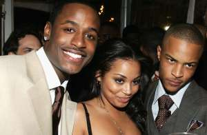 Actors Jackie Long, Lauren London, T.I. Will Smith pose the Premiere Of Warner Bros.