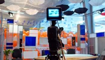 Videocamera in a news TV studio