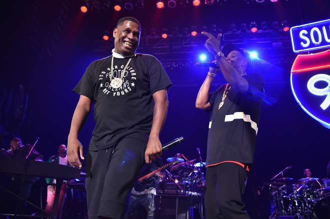 Jay Electronica (L) and Jay-Z perform during TIDAL X: Jay-Z B-sides in NYC on May 16, 2015