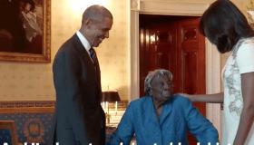 Virginia McLaurin meets President Obama