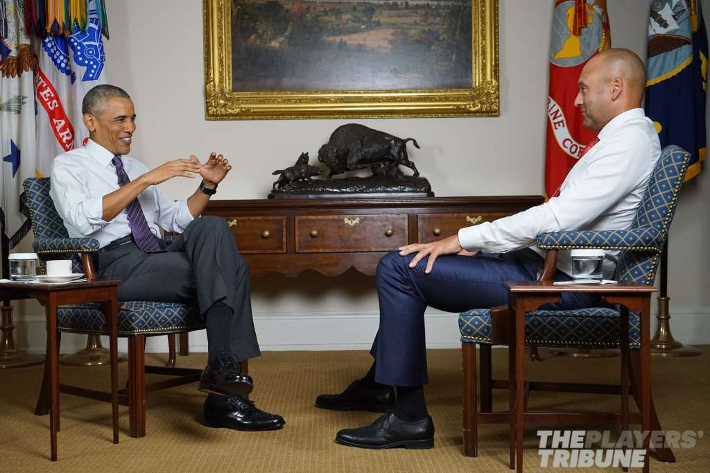 Derek Jeter and President Obama conversation players tribune