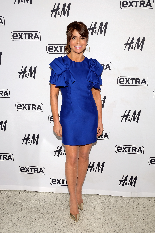 Paula Abdul Visits 'Extra'