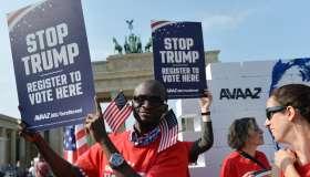 Protest 'Tear down Trump's wall' in Berlin