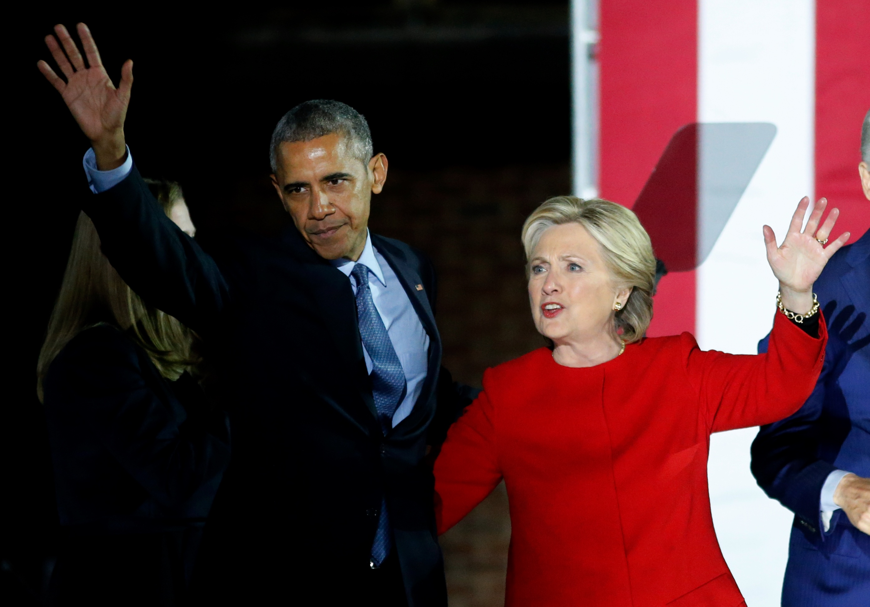 Hillary Clinton, U.S. President Barack Obama and first lady Michelle Obama during Campaign in Pennsylvania
